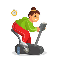 Fat woman working out in gym training on vector