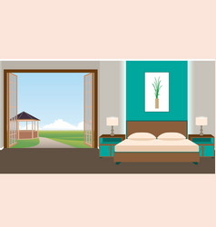 flat style hotel room interior with furniture and vector image