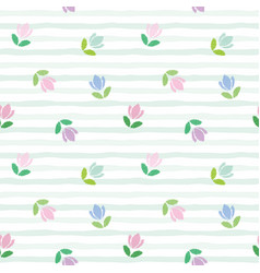 Floral seamless pattern embroidery tulips on the vector