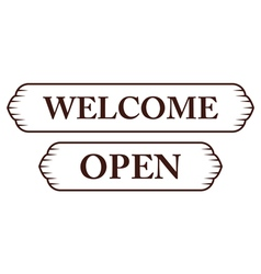 graphic vintage welcome and open vector image vector image
