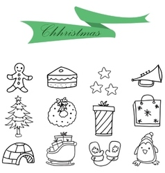 Icons of hand drawn christmas set vector