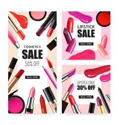 Lip makeup realistic sale banners vector