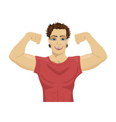 Muscular bodybuilder guy showing his muscles vector