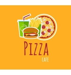 Pizza cafe logo composition vector