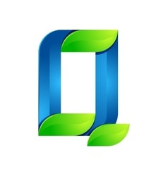 Q letter leaves eco logo volume icon vector image