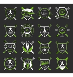 Set cricket badges vector