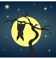 Silhouette bat hanging on a dry tree vector image