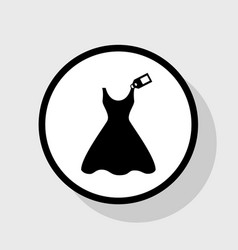 Woman dress sign with tag flat black icon vector