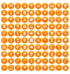 100 disaster icons set orange vector