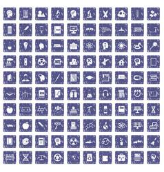 100 education icons set grunge sapphire vector