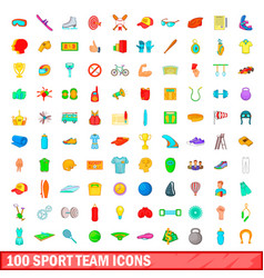 100 sport team icons set cartoon style vector image vector image