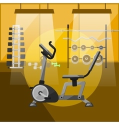 Exercise bike in gym interior with equipment vector