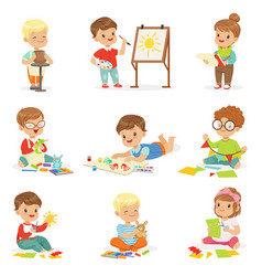 Little kids in art class in school doing different vector