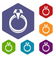 single diamond ring icons set vector image