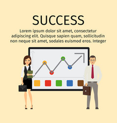 success infographic with business people vector image