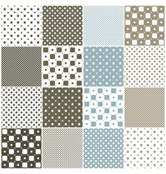 Seamless patterns with stars dots and squares vector