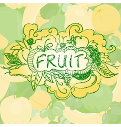 Fruit background with doodle elements vector