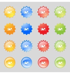 Swimming sign icon pool swim symbol sea wave set vector