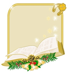 Christmas decoration frame with book vector
