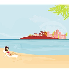 Summer beach girl on vacation vector