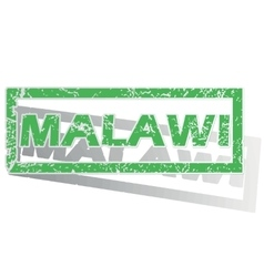 Green outlined malawi stamp vector