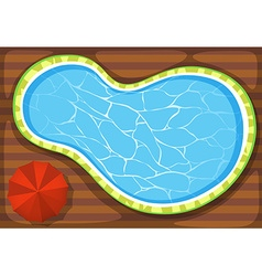 Swimming pool and umbrella vector