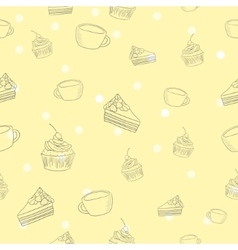 Seamless coffee and cake pattern vector