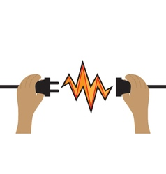 Hands hold a wire plug and socket connection icon vector
