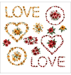 Set of flowers - frames letters and hearts vector