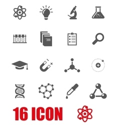 Grey science icon set vector