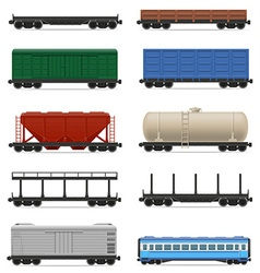 set railway carriage 01 vector image