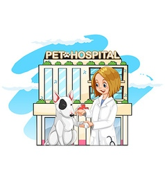 Vet and pet dog at the pet hospital vector