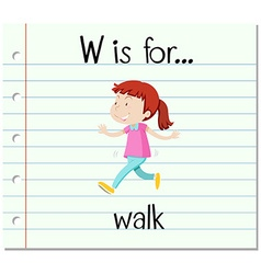 Flashcard letter w is for walk vector