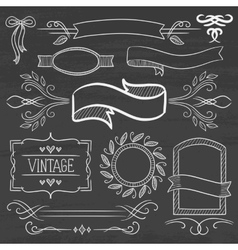 Set of vintage ribbons frames on a chalkboard vector