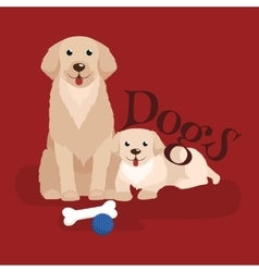 Cute small puppy and dog adorable pets background vector
