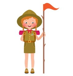 a smiling child girl scout vector image