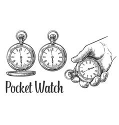 Antique pocket watch vintage engraved vector