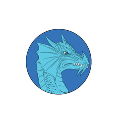 Blue dragon head angry circle drawing vector