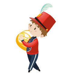 Boy in school band playing french horn vector