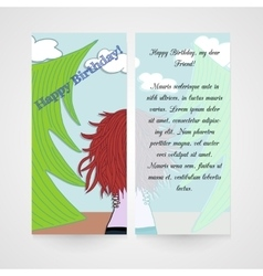 Designe greeting card with women in the wood vector