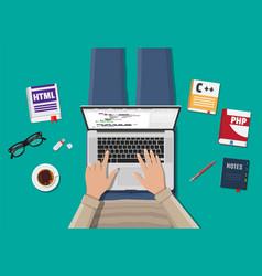 Desktop of freelance programmer or coder vector