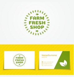 Farm fresh shop logo set with green leaves vector