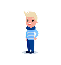 fashion little kid in blue sweater with stripes vector image vector image