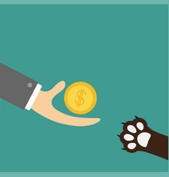 Hand giving golden coin money with dollar sign vector