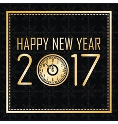 Happy new year 2017 greeting card gold clock frame vector