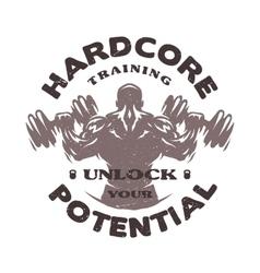 Hardcore training Emblem vector image vector image