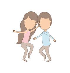 Light color caricature faceless full body couple vector