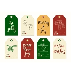 Merry christmas and happy new year vintage gift vector
