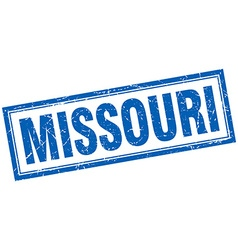Missouri blue square grunge stamp on white vector