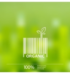 Organic barcode symbol on blurry background vector image vector image